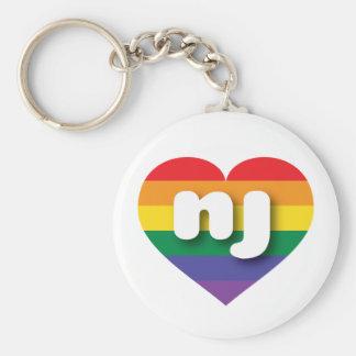Corazón del orgullo del arco iris de New Jersey - Llavero Redondo Tipo Pin