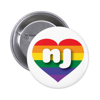 Corazón del orgullo del arco iris de New Jersey - Pin Redondo 5 Cm