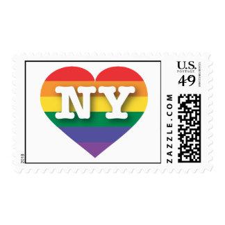 Corazón del orgullo del arco iris de Nueva York NY Sellos