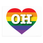 Corazón del orgullo del arco iris de Ohio OH Postal