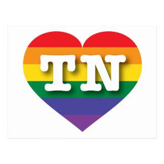 Corazón del orgullo del arco iris de Tennessee TN Postales