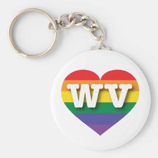 Corazón del orgullo del arco iris de Virginia Llaveros Personalizados