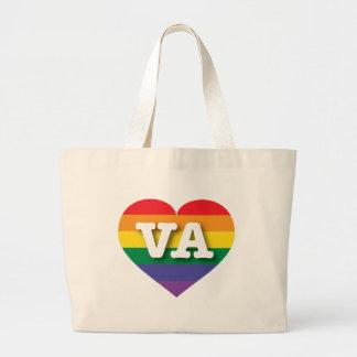 Corazón del orgullo del arco iris de Virginia VA Bolsas