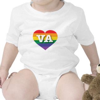 Corazón del orgullo del arco iris de Virginia VA Traje De Bebé