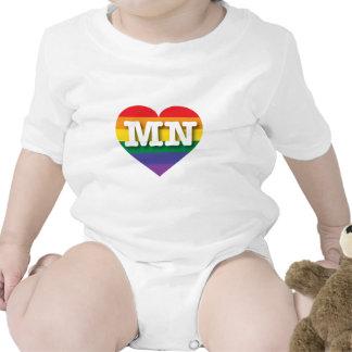 Corazón del orgullo del arco iris del manganeso de traje de bebé