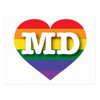 Corazón del orgullo del arco iris del MD de Postales