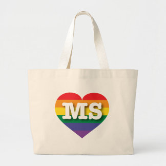Corazón del orgullo del arco iris del ms de bolsa tela grande