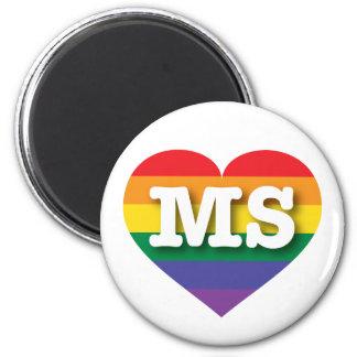 Corazón del orgullo del arco iris del ms de imán redondo 5 cm