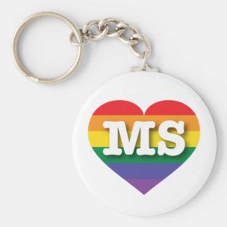 Corazón del orgullo del arco iris del ms de llavero redondo tipo chapa