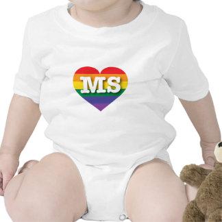 Corazón del orgullo del arco iris del ms de trajes de bebé