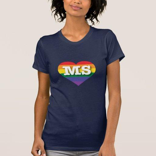 Corazón del orgullo del arco iris del ms de camisetas
