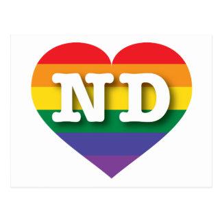 Corazón del orgullo del arco iris del ND de Dakota Tarjetas Postales