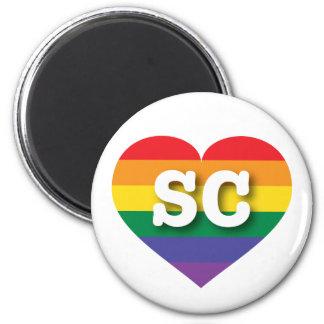 Corazón del orgullo del arco iris del SC de Imán Redondo 5 Cm