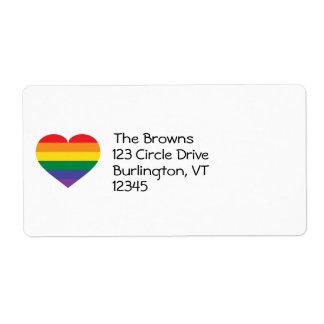 Corazón del orgullo del arco iris etiquetas de envío