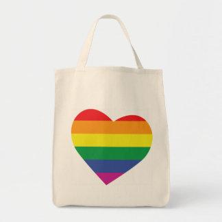 Corazón del orgullo gay bolsa tela para la compra