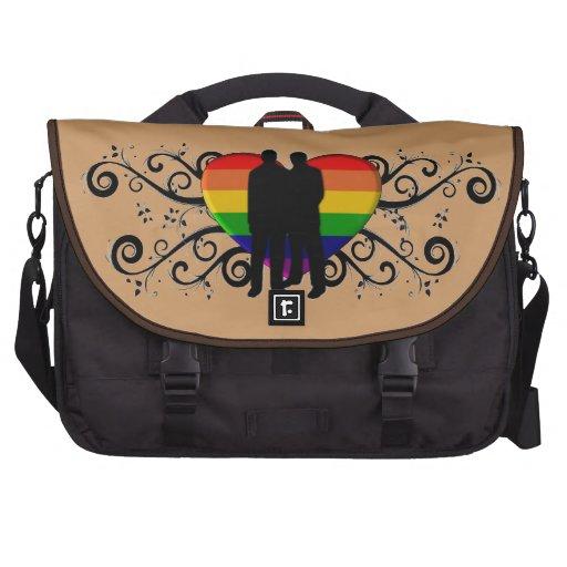 Corazón del orgullo gay para los hombres bolsas para ordenador