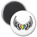 Corazón del orgullo GLBT del arco iris con las ala Imán De Frigorífico