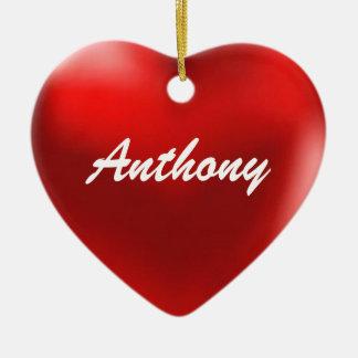 Corazón del ornamento de Anthony Adorno Navideño De Cerámica En Forma De Corazón