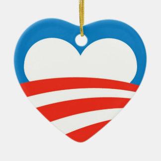Corazón del ornamento de Obama Adorno Navideño De Cerámica En Forma De Corazón