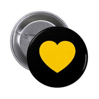 Corazón del oro amarillo en negro pin redondo de 2 pulgadas