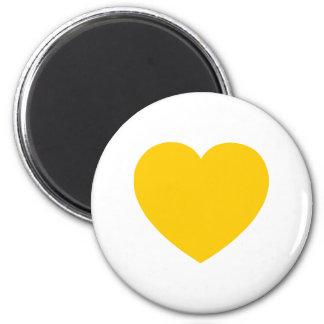 Corazón del oro amarillo imán redondo 5 cm
