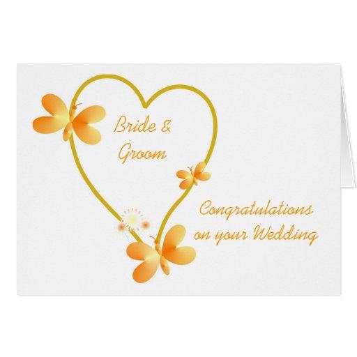 Corazón del oro e invitación de boda de las maripo felicitación