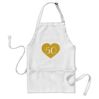 corazón del oro sólido 50 delantal