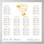 Corazón del oro y asiento de la cena de boda de la poster