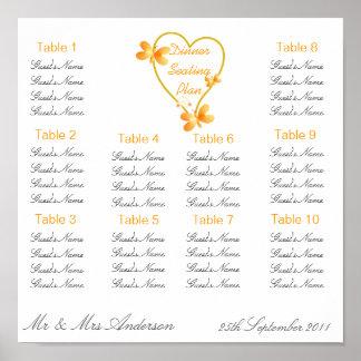 Corazón del oro y asiento de la cena de boda de la póster