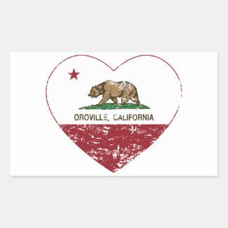 corazón del oroville de la bandera de California Pegatina Rectangular