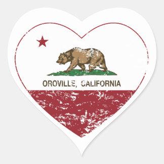 corazón del oroville de la bandera de California Pegatina En Forma De Corazón