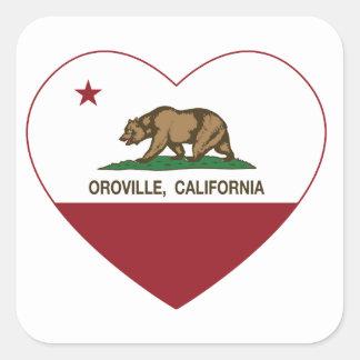 corazón del oroville de la bandera de California Pegatina Cuadrada