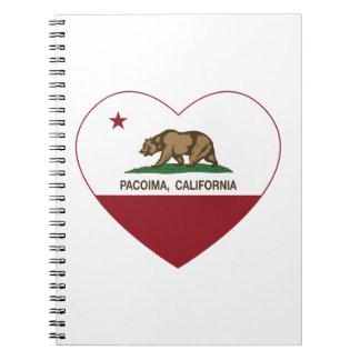 corazón del pacoima de la bandera de California Libro De Apuntes Con Espiral