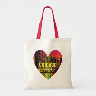 Corazón del paisaje urbano de Chicago Bolsa Tela Barata