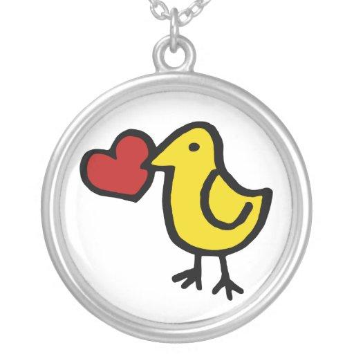 Corazón del pájaro colgante personalizado
