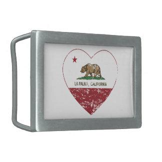 corazón del palma del la de la bandera de Californ Hebilla De Cinturon Rectangular