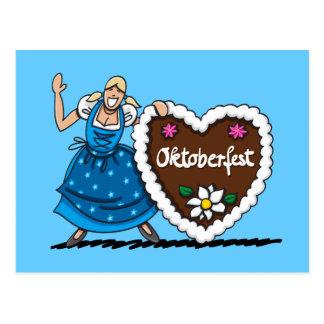 Corazón del pan de jengibre del Dirndl de Oktoberf Tarjeta Postal