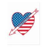 Corazón del patriota de la bola de Bocce Tarjetas Postales
