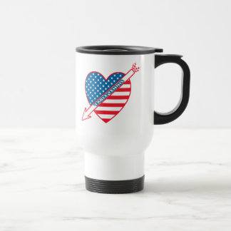 Corazón del patriota de los tenis de mesa taza de viaje