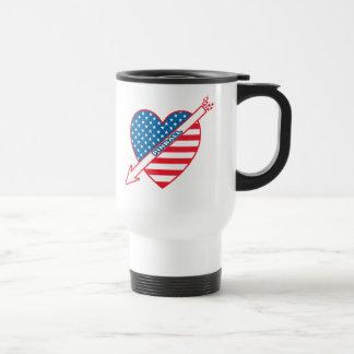 Corazón del patriota del pinball taza de viaje
