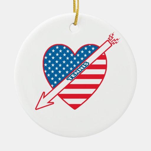 Corazón del patriota del tenis adorno redondo de cerámica