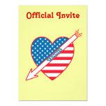 Corazón del patriota del tenis invitación 12,7 x 17,8 cm