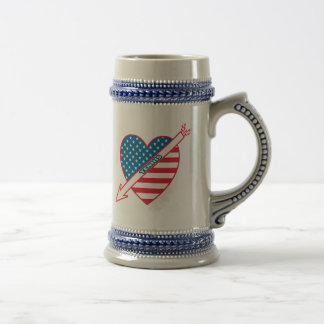 Corazón del patriota del tenis jarra de cerveza