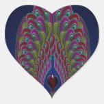 Corazón del pavo real del fractal pegatina en forma de corazón