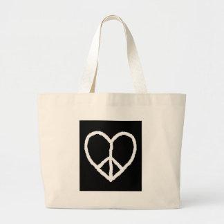 Corazón del Paz-en-Amor Bolsas De Mano