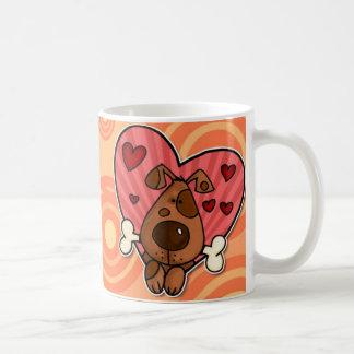 corazón del perrito tazas de café