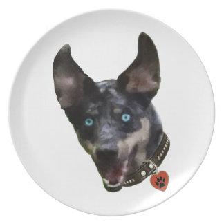 Corazón del perro de Catahoula Pawprint Plato Para Fiesta