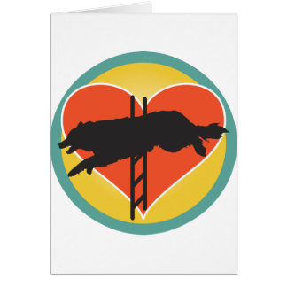 Corazón del perro de la agilidad tarjeta de felicitación