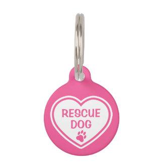 Corazón del perro del rescate del rosa y del placas de mascota