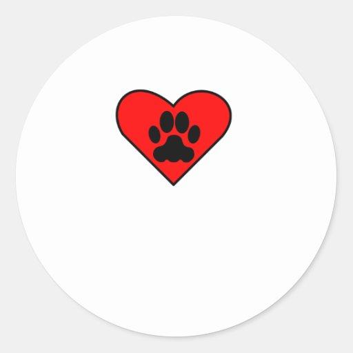 Corazón del perro pegatina redonda
